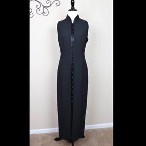 Vintage Jones Wear Vest Dress Black Button Maxi
